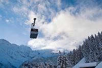 Cablecar between Gimmelwald and Muerren, Bernese Alps, Switzerland