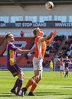 Blackpool's Brad Potts shields the ball from Cheltenham Town's Carl Winchester<br /> <br /> Photographer Alex Dodd/CameraSport<br /> <br /> The EFL Sky Bet League Two - Blackpool v Cheltenham Town - Saturday 22nd April 2017 - Bloomfield Road - Blackpool<br /> <br /> World Copyright &copy; 2017 CameraSport. All rights reserved. 43 Linden Ave. Countesthorpe. Leicester. England. LE8 5PG - Tel: +44 (0) 116 277 4147 - admin@camerasport.com - www.camerasport.com