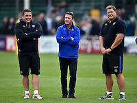 Bath Rugby Head Coach Mike Ford is flanked by first team coaches Toby Booth and Neal Hatley. West Country Challenge Cup match, between Bath Rugby and Exeter Chiefs on October 10, 2015 at the Recreation Ground in Bath, England. Photo by: Patrick Khachfe / Onside Images
