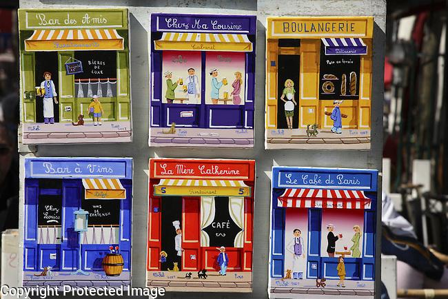 Paintings of Shop Facades; Montmartre; Paris; France