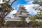 Photo shows Tsuruga-jo castle in Aizuwakamatsu City, Fukushima Prefecture, Japan.  Photographer: Rob Gilhooly