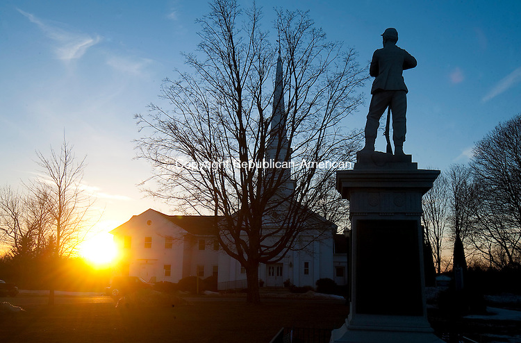 PROSPECT,  CT,  CT-041115JS01-  The Soldiers' Monument  on the Prospect Green at sunset. <br /> Jim Shannon Republican-American