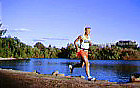Joe Schlereth running in city park in Fresno, CA - Mega Mileage Man - ran 9,000 miles in 1996: Executive portrait photographs by San Francisco - corporate and annual report - photographer Robert Houser.
