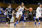 22 November 2016: Duke's Oderah Chidom (22) is chased by Old Dominion's Carolina Bernardeco (POR) (3). The Duke University Blue Devils hosted the Old Dominion University Monarchs at Cameron Indoor Stadium in Durham, North Carolina in a 2016-17 NCAA Division I Women's Basketball game. Duke won the game 92-64.