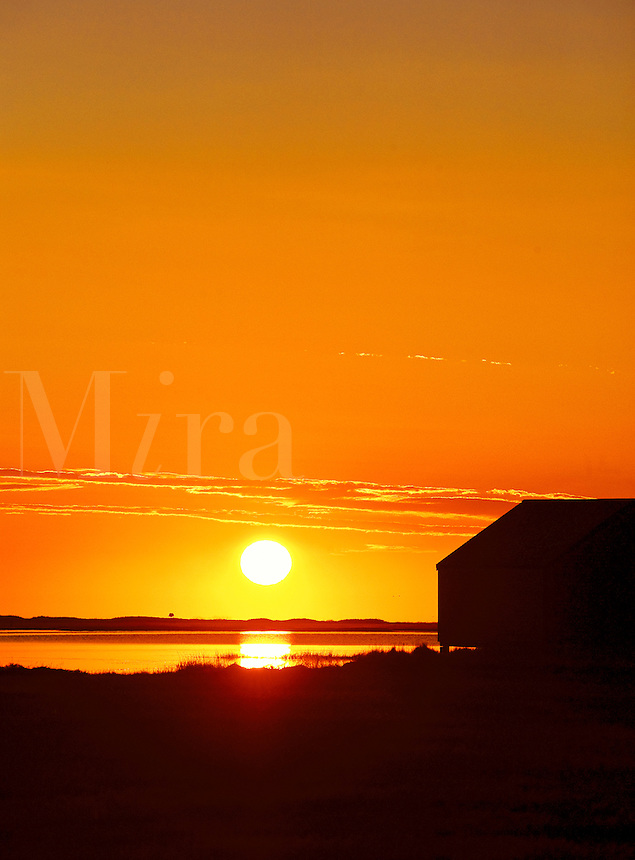 Sunrise over salt pond with boat house silhouette, Eastham, Cape Cod, MA, USA