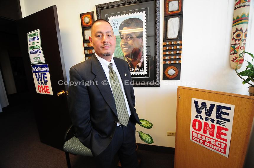 Phoenix, Arizona (March 16, 2014) -- Senator Steve Gallardo in his office in the Senate building in Phoenix, Arizona. Photo Eduardo Barraza © 2014