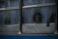 Bus carrying refugees out of Donetsk to Russian federation. September 29, 2014