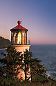 Heceta Head Lighthouse on the central Oregon coast, with visitors photographing sunset..