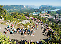 Picture by Alex Broadway/ASO/SWpix.com - 17/07/16 - Cycling - Tour de France 2016 - Stage Fifteen - Bourg-en-Bresse to Culoz - The peloton climbs the Lacets du Grand Colombier.<br /> NOTE : FOR EDITORIAL USE ONLY. COMMERCIAL ENQUIRIES IN THE FIRST INSTANCE TO simon@swpix.com THIS IS A COPYRIGHT PICTURE OF ASO. A MANDATORY CREDIT IS REQUIRED WHEN USED WITH NO EXCEPTIONS to ASO/ALEX BROADWAY