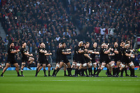 New Zealand players perform the haka prior to the match. Rugby World Cup Semi Final between South Africa and New Zealand on October 24, 2015 at Twickenham Stadium in London, England. Photo by: Patrick Khachfe / Onside Images