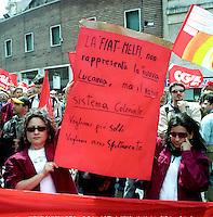 Roma Maggio 2004.Manifestazione degli operai della Fiat di Melfi..Demonstration of workers at Fiat Melfi .