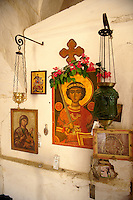 Interior of Greek Orthodox church, Paliachora,  Aegina, Greek Saronic Islands