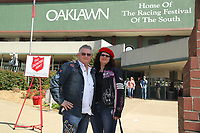 HOT SPRINGS, AR - MARCH 18: Fans stop to take a picture in front of Oaklawn before the running of the Rebel Stakes at Oaklawn Park on March 18, 2017 in Hot Springs, Arkansas. (Photo by Justin Manning/Eclipse Sportswire/Getty Images)