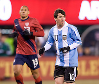 Lionel Messi,  Jermaine Jones. The USMNT tied Argentina, 1-1, at the New Meadowlands Stadium in East Rutherford, NJ.