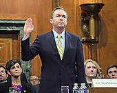 United States Representative Mick Mulvaney (Republican of South Carolina) is sworn-in to testify during the US Senate Committee on the Budget hearing considering his nomination to be  Director, White House Office of Management and Budget (OMB) on Capitol Hill in Washington, DC on Tuesday, January 24, 2017.<br /> Credit: Ron Sachs / CNP