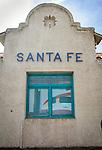The Rail Runner commuter train stop in the Santa Fe Railyard district, Santa Fe, New Mexico