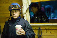 Jockey Julien Leparoux (L) has a coffee between early morning practice rides at the Biancone stable in Saratoga Springs, NY, United States, 4 August 2006.