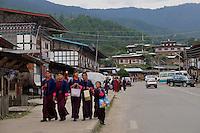 School girls coming back from school in their national dress at Jakar in Bumthang, Bhutan. Arindam Mukherjee.