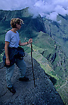 South America, Peru, Machu Picchu. Hiker at Huayna Picchu