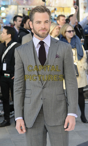 Chris Pine.attending the UK film premiere of 'Star Trek Into Darkness 3D' held at the Empire Cinema, Leicester Square, London, United Kingdom, .2nd May 2013..half length waistcoat purple aubergine tie  grey gray jacket beard facial hair .CAP/CAN.©Can Nguyen/Capital Pictures.