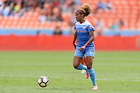 Houston, TX - Saturday April 15, 2017: Casey Short brings the ball up the field during a regular season National Women's Soccer League (NWSL) match won by the Houston Dash 2-0 over the Chicago Red Stars at BBVA Compass Stadium.