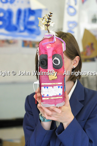Art project to make a mask starting with just a plastic milk bottle, State secondary school.