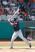 Salem Red Sox infielder Jordan Betts (25) at bat during a game against the Down East Wood Ducks  at Grainer Stadium on April 16, 2017 in Kinston, North Carolina. Salem defeated Down East 9-2. (Robert Gurganus/Four Seam Images)