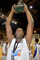 Bryan Davis celebrates winning the national basketball league final Hawks v Saints at TSB Bank Arena, Wellington, New Zealand on Saturday 5 July 2014. <br /> Photo by Masanori Udagawa. <br /> www.photowellington.photoshelter.com.