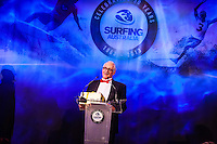 Darling Harbour, Sydney. (20th February, 2013): Peter 'Joli' Wilson accepting his award for the Nikon Surf Photo of the Year.  Australian surfing celebrated its champions tonight with Mark Richards and Stephanie Gilmore honoured at the Australian Surfing Awards in Sydney...The Awards marked a significant milestone in Surfing Australia's history as it celebrated its 50th Anniversary following its formation in 1963 as the Australian Surfriders Association and over 500 guests celebrated at the gala event. It was an unprecedented gathering of Australian surfing legends from the past 50 years...Four-times World Champion Mark Richards was named Australia's Most Influential Surfer 1963-2013, while five-times World Champion Stephanie Gilmore was inducted as the 35th member of the Australian Surfing Hall of Fame...The campaign to find Australia's 10 Most Influential Surfers 1963-2013 was conducted through a public vote and through votes provided by the members of the Australian Surfing Hall of Fame...The 10, in order of votes received, was: Mark Richards, Simon Anderson, Nat Young, Michael Peterson, Midget Farrelly, Tom Carroll, Layne Beachley, Wayne Bartholomew, Mark Occhilupo and Bob McTavish...Peter 'Joli' Wilson's photo of the wave Cloudbreak off Fiji during the enormous run of swell in June won the Nikon Surf Photo of the Year and Storm Surfers 3D featuring Ross Clarke-Jones and Tom Carroll was named the Nikon Surf Movie of the Year...2013 AUSTRALIAN SURFING AWARDS WINNERS..Australian Surfing Hall of Fame Inductee: Stephanie Gilmore.Australia's Most Influential Surfer 1963-2013: Mark Richards.Male Surfer of the Year: Joel Parkinson.Female Surfer of the Year: Stephanie Gilmore.Rising Star: Jack Freestone.Waterman of the Year: Jamie Mitchell.ASB Surfing Spirit Award: Misfit Aid.Peter Troy Lifestyle Award: Bob Smith.Surf Culture Award: The Reef - by the Australian Chamber Orchestra and Tura New Music.Simon Anderson Club Award: Kirra Surfriders Club.Nikon Surf Movie of the