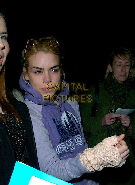 "BILLIE PIPER.Leaving the Garrick Theatre after his performance in ""Treats"", London, England, April 3rd 2007..half length purpe hoodie hooded top peach fingerless gloves.CAP/CAN.©Can Nguyen/Capital Pictures"