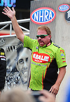 Jul. 31, 2011; Sonoma, CA, USA; NHRA top fuel dragster driver Terry McMillen during the Fram Autolite Nationals at Infineon Raceway. Mandatory Credit: Mark J. Rebilas-