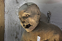Mummified remains at Capuchin Catacombs of Palermo, located on the crypt below the Palermo's Capuchin monastery, Sicily, Italy. Mummification of monks at the catacombs began in 1500s; burials stopped in the 1920s; deceased were preserved in their habits or own clothes. Picture by Manuel Cohen