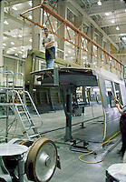 BART Railroad Cars being fabricated, San Francisco, 1975. Photo by John G. Zimmerman.