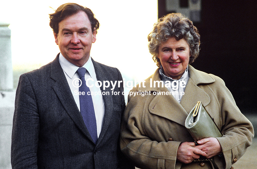 Nicholas Bowman, branch manager, Northern Bank, N Ireland, with his wife. 19850025NB..Copyright Image from Victor Patterson, 54 Dorchester Park, Belfast, UK, BT9 6RJ..Tel: +44 28 9066 1296.Mob: +44 7802 353836.Voicemail +44 20 8816 7153.Skype: victorpattersonbelfast.Email: victorpatterson@mac.com.Email: victorpatterson@ireland.com (back-up)..IMPORTANT: If you wish to use this image or any other of my images please go to www.victorpatterson.com and click on the Terms & Conditions. Then contact me by email or phone with the reference number(s) of the image(s) concerned.