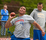 LITCHFIELD,  CT-052017JS08- Nonnewaug's Clifton Leggo took first in the shot put during the Berkshire League Outdoor Track and Field Championships Saturday at the Plumb Hill Sports Complex in Litchfield. <br /> Jim Shannon Republican-American