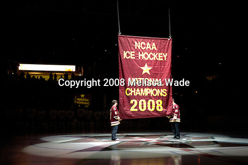Nate Gerbe, Matt Greene - The Boston College Eagles defeated the University of Wisconsin Badgers 5-4 on Friday, October 10, 2008 after raising their 2008 National Championship banner at Kelley Rink in Conte Forum in Chestnut Hill, Massachusetts.