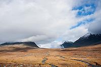 View of Stuor Reaiddavaggi valley from Salka hut, Kungsleden trail, Lapland, Sweden