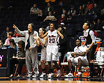 "The Ole Miss bench, including Amber Singletary (20) and Maggie McFerrin (14), celebrates a basket at the C.M. ""Tad"" Smith Coliseum in Oxford, Miss. on Thursday, January 12, 2012. Ole Miss won 60-54."
