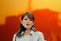 St. Paul, MN - September 3, 2008: Alaska Governor and Republican Vice President nominee Sarah Palin speaking at the 2008 Republican National Convention at the Excel Center in St. Paul, Minnesota.