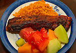 Home made tomato vinegar based BBQ Sauce, Pork Ribs, Mexican rice, Watermelon, Honeydrew melon and Cantaloupe fruit salad. ©2016. Jim Bryant. All Rights Reserved.
