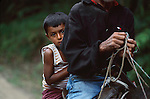 HONDURAS-10008, Young boy on mule, La Fortuna, Honduras, 2004.<br />
