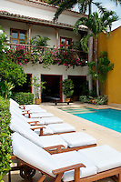Colonial house courtyard, Cartagena de Indias, Bolivar Department,, Colombia, South America.