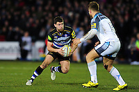 Ollie Devoto of Bath Rugby in possession. Aviva Premiership match, between Bath Rugby and Newcastle Falcons on March 18, 2016 at the Recreation Ground in Bath, England. Photo by: Patrick Khachfe / Onside Images