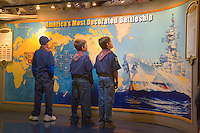 Cub scouts at an exhibit, aboard the USS New Jersey (BB62).Camden Waterfront, Delaware River, New Jersey
