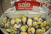 Post-Thanksgiving frozen turkey sale in the grocery department in a Target store in Elmhurst in the New York borough of Queens during the Thanksgiving weekend, on Saturday, November 26, 2011. (© Richard B. Levine)