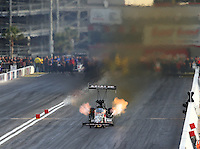 Apr 10, 2015; Las Vegas, NV, USA; NHRA top fuel driver Terry McMillen during qualifying for the Summitracing.com Nationals at The Strip at Las Vegas Motor Speedway. Mandatory Credit: Mark J. Rebilas-