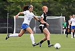 18 September 2011: Florida State's Tori Huster (10) and Duke's Gilda Doria (21). The Duke University Blue Devils defeated the Florida State University Seminoles 2-1 at Koskinen Stadium in Durham, North Carolina in an NCAA Division I Women's Soccer game.