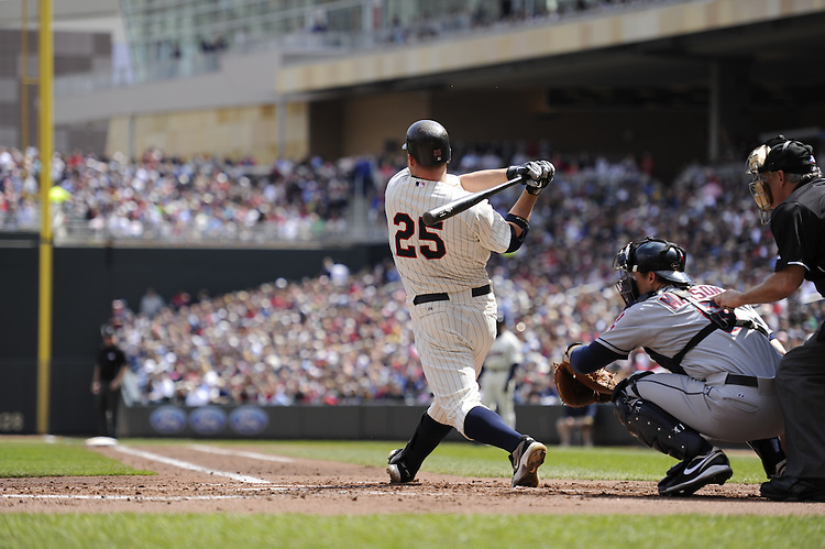 MINNEAPOLIS - APRIL 24:  Jim Thome #25 of the Minnesota Twins bats against the Cleveland Indians on April 24, 2011 at Target Field in Minneapolis, Minnesota.  The Twins defeated the Indians 4-3.  (Photo by Ron Vesely)  Subject:  Jim Thome