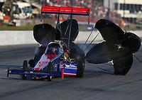 May 17, 2014; Commerce, GA, USA; NHRA top fuel dragster driver Ike Maier during qualifying for the Southern Nationals at Atlanta Dragway. Mandatory Credit: Mark J. Rebilas-USA TODAY Sports