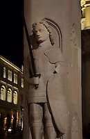 Statue of Orlando or Roland, legendary knight, who saved Dubrovnik from a 15 month Saracen siege in the 9th century, on Orlando's Column, Luza Square, at the end of Stradun or Placa, the main street in the Old Town, Dubrovnik, Croatia. The city developed as an important port in the 15th and 16th centuries and has had a multicultural history, allied to the Romans, Ostrogoths, Byzantines, Ancona, Hungary and the Ottomans. In 1979 the city was listed as a UNESCO World Heritage Site. Picture by Manuel Cohen